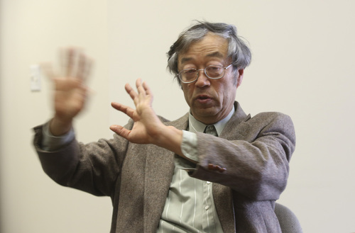 Dorian S. Nakamoto gestures during an interview with the Associated Press, Thursday, March 6, 2014 in Los Angeles. Nakamoto, the man that Newsweek claims is the founder of Bitcoin, denies he had anything to do with it and says he had never even heard of the digital currency until his son told him he had been contacted by a reporter three weeks ago. (AP Photo/Nick Ut)