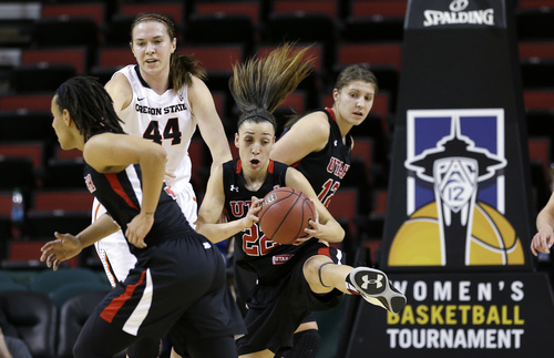 Elaine Thompson  |  The Associated Press Utah's Danielle Rodriguez comes down with a rebound against Oregon State late Friday during the Pac-12 Tournament in Seattle. Rodriguez, who improved throughout the season, will be a key part of the Utes' team next year as a returning starter.