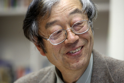 Dorian S. Nakamoto smiles during an interview with the Associated Press, Thursday, March 6, 2014 in Los Angeles. Nakamoto, the man that Newsweek claims is the founder of Bitcoin, denies he had anything to do with it and says he had never even heard of the digital currency until his son told him he had been contacted by a reporter three weeks ago. (AP Photo/Nick Ut)