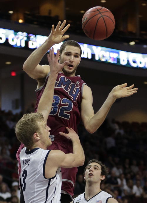 Loyola Marymount's Gabe Levin (32) passes the ball against BYU's Tyler Haws in the second half of a quarterfinal West Coast Conference NCAA college basketball tournament game on Saturday, March 8, 2014, in Las Vegas. (AP Photo/Julie Jacobson)