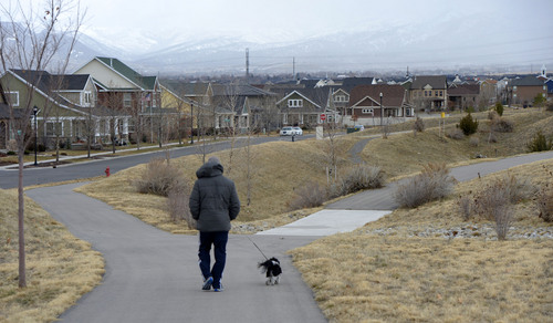 Al Hartmann  |  The Salt Lake Tribune  Daybreak, Kennecott's housing and mixed use in South Jordan, is nearly 20 percent parks and open space, thanks to its master plan and the way its neighborhoods are laid out.  Residents treasure the community's walkability and many of them cite the accessiblity of parks and trails among their reasons for buying Daybreak homes.