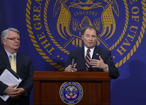 Scott Sommerdorf   |  The Salt Lake Tribune Utah Governor Gary Herbert announced that he will choose to reject full medicaid expansion, and instead seeks a block grant to help cover poorest Utahns, Thursday, Feb. 27, 2014.