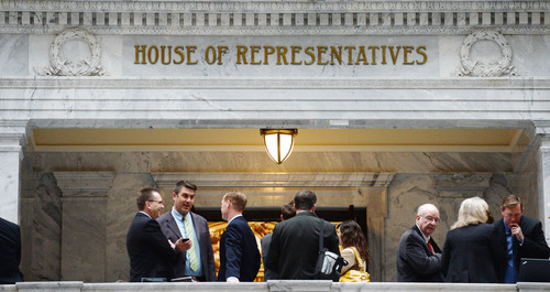 Steve Griffin  |  The Salt Lake Tribune   Lobbyists and members of the public wait outside the House of Representatives for a chance to take to a legislator during the legislative season on Capitol Hill in Salt Lake City, Utah Monday, March 10, 2014.