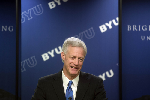 Keith Johnson | The Salt Lake Tribune  Kevin J. Worthen J.D., former dean of the J. Reuben Clark Law School and current advancement vice president of Brigham Young University, addresses the media after it was announced during a devotional at the Marriott Center that he will become the 13th president of BYU beginning May 1, 2014.