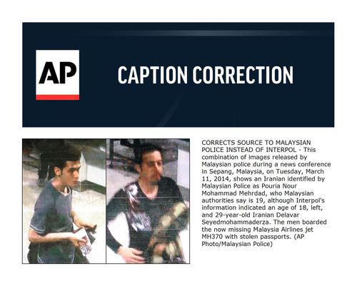 CORRECTS SOURCE TO MALAYSIAN POLICE INSTEAD OF INTERPOL - This combination of images released by Malaysian police during a news conference in Sepang, Malaysia, on Tuesday, March 11, 2014, shows an Iranian identified by Malaysian Police as Pouria Nour Mohammad Mehrdad, who Malaysian authorities say is 19, although Interpol's information indicated an age of 18, left, and 29-year-old Iranian Delavar Seyedmohammaderza. The men boarded the now missing Malaysia Airlines jet MH370 with stolen passports. (AP Photo/Malaysian Police)