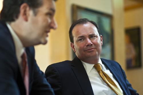 Chris Detrick     The Salt Lake Tribune Senator Ted Cruz, R-Texas, and Senator Mike Lee, R-Utah, speak during an interview in the home of Steve Harmsen Friday September 13, 2013.