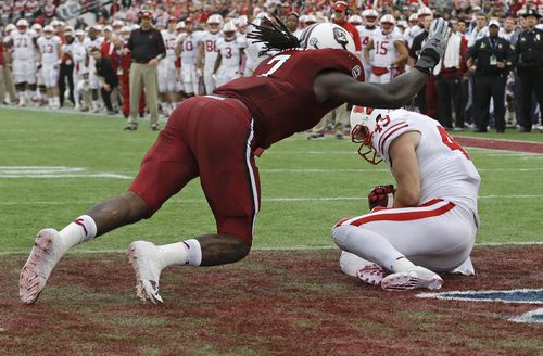 Wisconsin tight end Sam Arneson (49) catches a pass for a touchdown in front of South Carolina defensive end Jadeveon Clowney, left, during the first half of the Capital One Bowl NCAA college football game in Orlando, Fla., Wednesday, Jan. 1, 2014.(AP Photo/John Raoux)