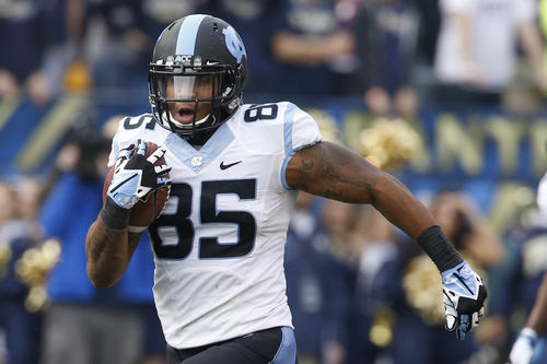 North Carolina tight end Eric Ebron (85) in action in an NCAA football game between Pittsburgh and North Carolina, Saturday, Nov. 16, 2013 in Pittsburgh. (AP Photo/Keith Srakocic)