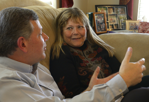 Rick Egan  | The Salt Lake Tribune   Ken Drake visits with his birth mother Raella Bodinus for the first time, at his home in Lindon,  Friday, March 7, 2014. Drake was born in Los Angeles in 1964. He and his mother found each other through a DNA match on ancestry.com.
