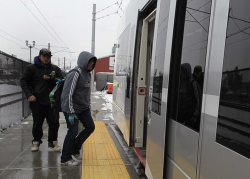 Leah Hogsten  |  The Salt Lake Tribune The new Sugar House Streetcar, or S-Line, held a free preview day for the public with free rides with a can of food, December 7, 2013.