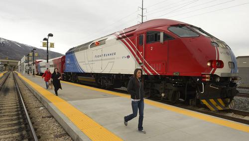 Rick Egan  | The Salt Lake Tribune   Passengers exit the FrontRunner at Farmington Station, Monday, March 10, 2014.