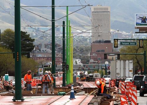 Rick Egan  | The Salt Lake Tribune  TRAX construction along North Temple looking east in Salt Lake City.