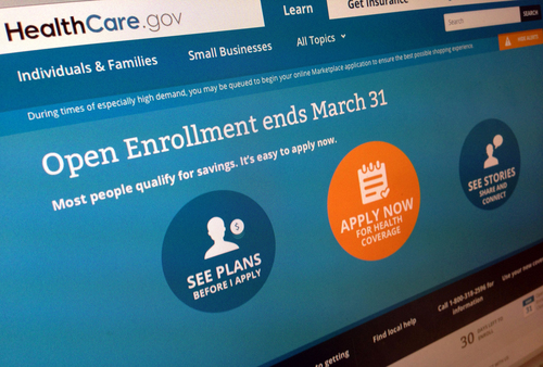 FILE This March 1, 2014 FILE photo shows part of the website for HealthCare.gov as photographed in Washington. If the Obama administration's health care plan is going to pass what amounts to its first physical, people have to sign up this month at a pretty speedy rate: 42 times a minute. That's somewhere between the steady rate you breathe and how fast your heart beats. (AP Photo/Jon Elswick, File)