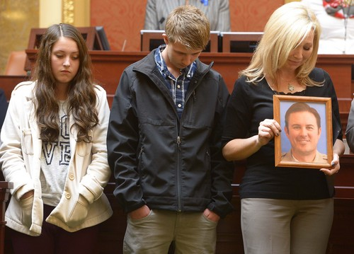 Leah Hogsten  |  The Salt Lake Tribune l-r KylieAnne Wride, brother Tyesun and mother Nannette Wride were thanked by the Utah House and observed a moment of silence to honor the life of her deceased husband Utah County Sheriff Cory Wride. The Utah House of Representatives passed a bill Wednesday, March, 12, 2014, to rename SR-73 in Utah County in honor of Wride, who was killed during a shootout along the highway in January.