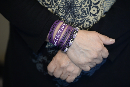 Francisco Kjolseth  |  The Salt Lake Tribune Marcie Lucero wears multiple bracelets that have been distributed for Charlee's Angels in support of her granddaughter  Charlee, 6, who suffers from Late Infant Batten Disease, a terminal inherited disorder of the nervous system that leads to seizures, loss of vision and motor skills.