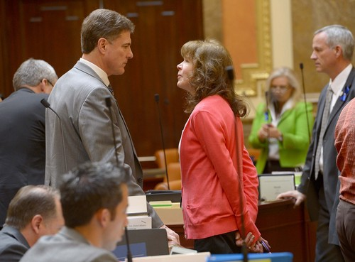 Leah Hogsten  |  The Salt Lake Tribune Rep. Jim Dunnigan, R-Taylorsville., chairman of the investigative committee and his wife Vicki talk after House recess after presenting their final report, Wednesday, March, 12, 2014, to the Utah House, into former Attorney General John Swallow.  A stack of more than 200 pages with 3,700 exhibits was submitted as the result of a four-month, $4 million investigation, which contributed to Swallow's resignation.
