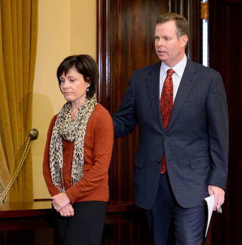 Trent Nelson  |  Tribune file photo Utah Attorney General John Swallow and his wife, Suzanne, enter a news conference where Swallow announced his resignation, Thursday, Nov. 21, 2013, in Salt Lake City.