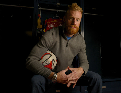 Leah Hogsten  |  The Salt Lake Tribune Real Salt Lake defender Nat Borchers is an unsung hero of the RSL core. The 32-year-old center back has kept his competitive edge throughout the years, battling some of the best forwards in MLS, Tuesday, March 11, 2014.