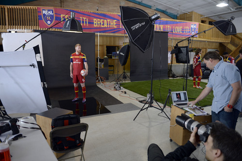 Francisco Kjolseth  |  The Salt Lake Tribune Real Salt Lake Nat Borchers tries to get into character for portrait as the team convenes for its 2014 Media Day four weeks ahead of the season opener on March 8, at the Ardell Brown Recreational facility in Sandy on Tuesday, Feb. 4, 2014.