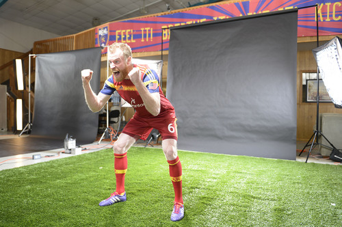 Francisco Kjolseth  |  The Salt Lake Tribune Real Salt Lake player Nat Borchers is lit up by the strobes as he lets out a primal scream for an action portrait as the team convenes for its 2014 Media Day four weeks ahead of the season opener on March 8, at the Ardell Brown Recreational facility in Sandy on Tuesday, Feb. 4, 2014.