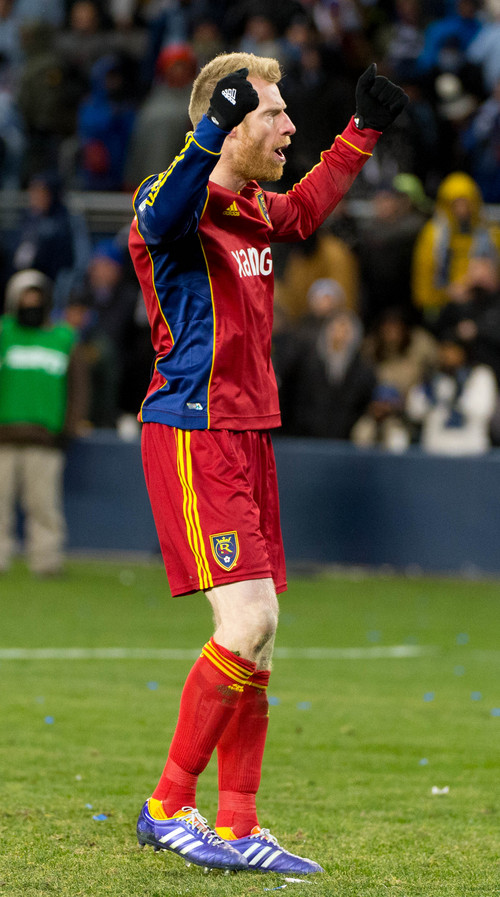 Trent Nelson  |  The Salt Lake Tribune Real Salt Lake's Nat Borchers (6) reacts to scoring during the shootout as Real Salt Lake faces Sporting KC in the MLS Cup Final at Sporting Park in Kansas City, Saturday December 7, 2013.