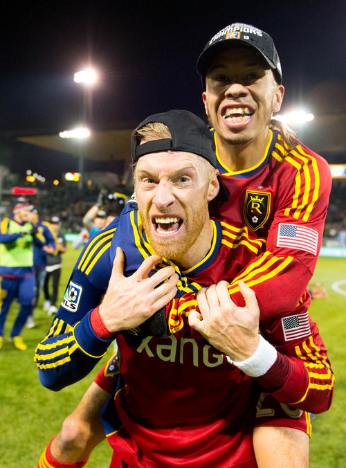 Trent Nelson  |  The Salt Lake Tribune Real Salt Lake's Nat Borchers (6) and Sebastian Velasquez (26) celebrate the win as Real Salt Lake faces the Portland Timbers, MLS soccer Sunday November 24, 2013, in Portland.