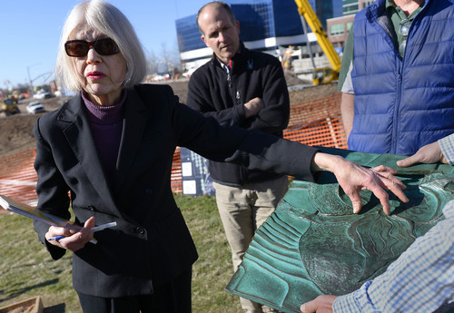 """Leah Hogsten     The Salt Lake Tribune Environmental artist and project designer Patricia Johanson discusses the project, Thursday, March, 13, 2014. The Draw at Sugar House Park will link a """"Sego Lily"""" sculptured dam with flood walls and a spillway that ties together Sugarhouse Commons with Sugar House Park. The north petal of the Sego Lily, which has 30-foot high walls, tips over to become an overlook; the south petal forms a bus shelter; and a parapet along the highway offers a view of the plaza and entrance to the pedestrian crossing below."""
