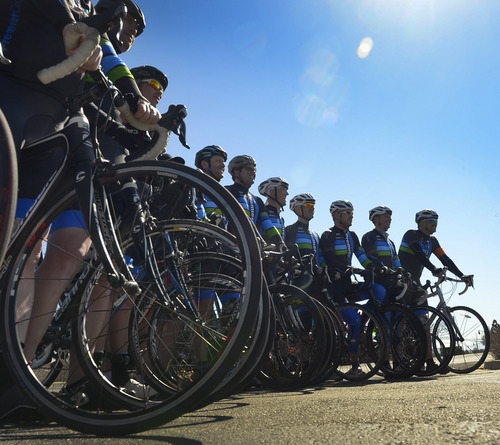 Rick Egan  |  The Salt Lake Tribune More than150 cyclist gathered in South Jordan on Friday for a memorial ride for Bryan Byrge and John Coons.