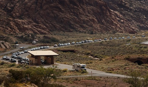 Leah Hogsten | The Salt Lake Tribune On October 12, 2013, there was a minimum 15-minute wait time for vehicles waiting for entrance to Arches National Park, October 12, 2014.Thanks to a $1.7 million payment from Utah taxpayers, the national parks of southern Utah were exempted from the federal government shutdown just in time for a traditionally busy fall weekend. A National Park Service report shows Utahís efforts to open nine units during the federal government shutdown paid off with visitors spending $10 for every $1 the state spent for the opening.