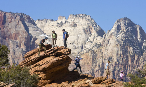 Al Hartmann | The Salt Lake Tribune  Hikers in Zion National Park in 2009. A National Park Service report shows Utah's efforts to open nine units during the federal government shutdown paid off with visitors spending $10 for every $1 the state spent for the opening.