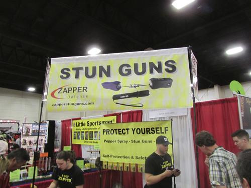 Tom Wharton  |  The Salt Lake Tribune Stun guns for sale at the International Sportsmen's Exposition in Sandy.