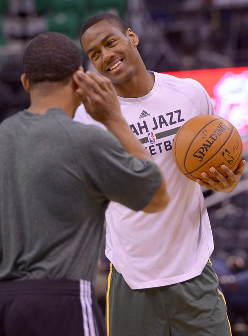 Leah Hogsten     The Salt Lake Tribune Utah Jazz guard Alec Burks (10) gets ready to meet the Los Angeles Clippers, Friday, March, 14, 2014 at Energy Solutions Arena.