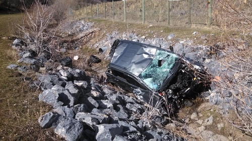 (Courtesy Cache County Sheriff) West Jordan's Weston R. Love was killed when he drove off the roadway on Highway 89-91 in Sardine Canyon on Saturday morning. He wasn't wearing a seatbelt and was ejected from his gray Jeep Cherokee, seen here.