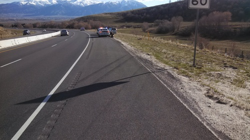 (Courtesy Cache County Sheriff) West Jordan's Weston R. Love was killed when he drove off the roadway on Highway 89-91 in Sardine Canyon on Saturday morning. Authorities said he wasn't wearing a seatbelt and was ejected from his gray Jeep Cherokee, seen here.