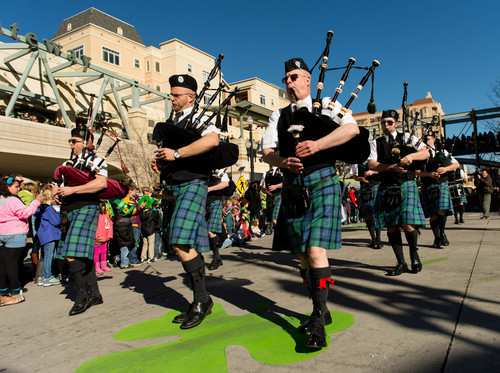 Trent Nelson  |  The Salt Lake Tribune Bagpipers at the St. Patrick's Day Parade at The Gateway in Salt Lake City, Saturday, March 15, 2014.
