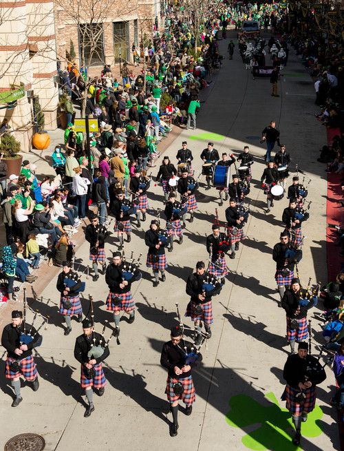 Trent Nelson  |  The Salt Lake Tribune The White Peaks Centennial Pipe Band performs at the St. Patrick's Day Parade at The Gateway in Salt Lake City, Saturday, March 15, 2014.