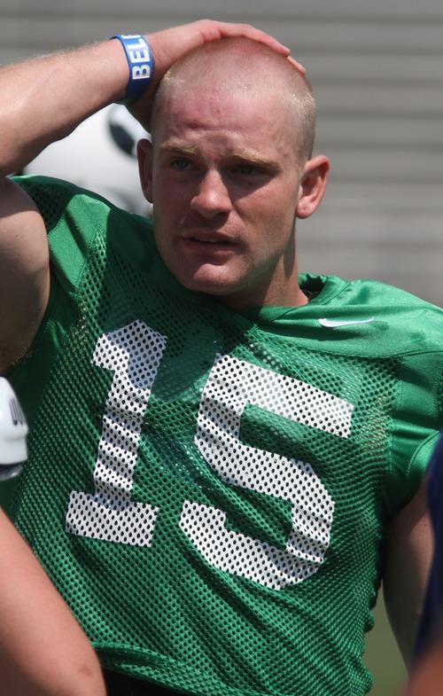 Rick Egan     Tribune file photo   Quarterback Ammon Olsen (15) at the scrimmage at LaVell Edwards Stadium, Thursday, August 9, 2012.