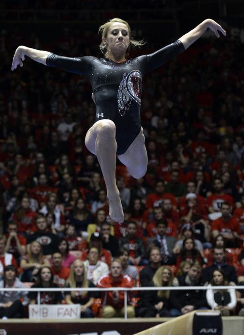Rick Egan  | The Salt Lake Tribune   Mary Beth Lofgren  competes on the beam for the Utes, in gymnastics action, Utah vs. Georgia, Saturday, March 15, 2014.