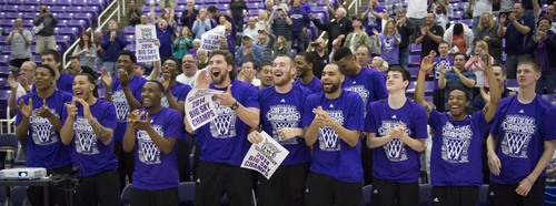 Steve Griffin  |  The Salt Lake Tribune   The Weber State Wildcats men's basketball team leaps from their seats as they celebrate their selection into the 2014 NCAA Basketball Tournament during selection party at the Dee Events Center in Ogden, Utah Sunday, March 16, 2014. Weber State will meet the number one seed Arizona Wildcats.