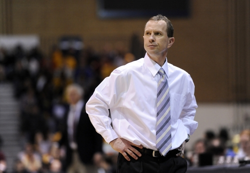 Weber State coach Randy Rahe looks on against Montana during the second half of an NCAA college basketball game in the semifinals of the Big Sky tournament Tuesday, March 8, 2011, in Greeley, Colo. Montana beat Weber State 57-40. (AP Photo/Jack Dempsey)