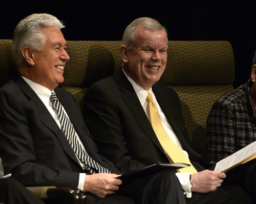"Rick Egan | The Salt Lake Tribune  President Dieter F. Uchtdorf, second counselor in the LDS Church's governing First Presidency, visits with LDS Church Historian, Steven E. Snow, before giving the keynote address to the ""Church History Symposium."" at the LDS Conference Center Theater, Friday, March 7, 2014"