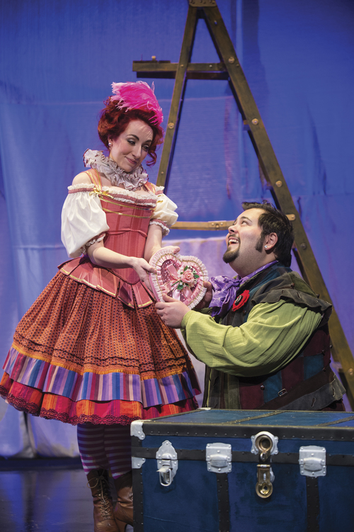 Karl Hugh | Courtesy Utah Shakespeare Festival Kaitlin Mills (left) as Bianca and Ray Seams as Hortensio in the Utah Shakespeare Festivalís 2014 Shakespeare-in-the-Schools production of The Taming of the Shrew.