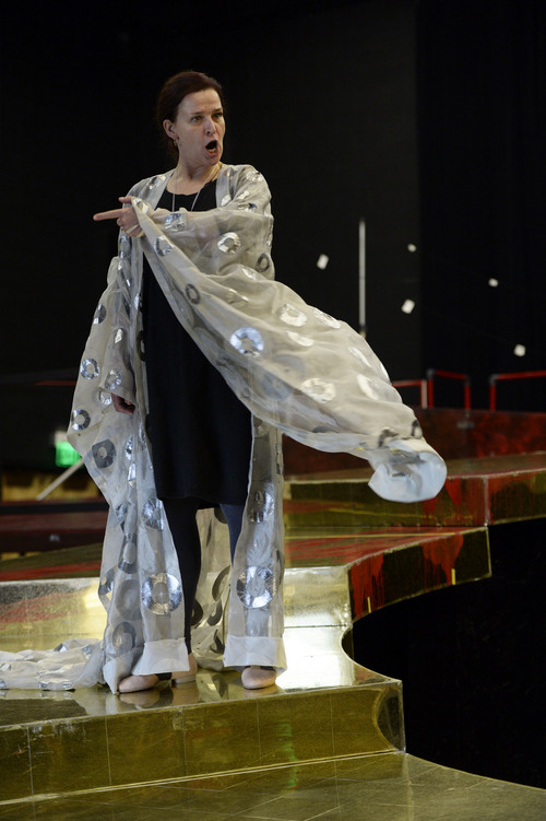 "Francisco Kjolseth  |  The Salt Lake Tribune Maida Hundeling, shown in a rehearsal, plays the title in Utah Opera's ""Turandot,"" Puccini's opera about the princess who decapitates several suitors while waiting for the right man to come along."