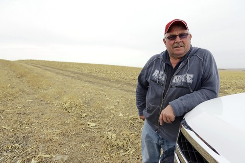 In this March 17, 2014 photo Tom Rutjens, a construction-company owner, poses for a photo in a field he owns in Tilden, Neb., along the route of the TransCanada XL pipeline. Rutjens, who signed agreements to let TransCanada run the line through his property, said he knew of two landowners who were dead-set against the pipeline, but more who were willing to accept the risks of having the pipeline in exchange for the payments. (AP Photo/Nati Harnik)
