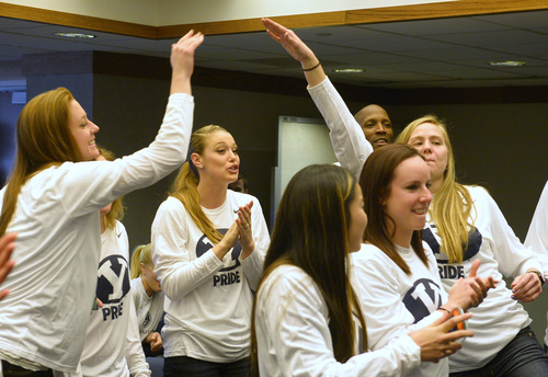 Rick Egan  | The Salt Lake Tribune   The BYU women's basketball team celebrates as their name is announced as they watch the NCAA Selection Show in the Cougar Room at the Marriott Center, Monday, March 17, 2014. The Cougars will meet North Carolina State in the first round.