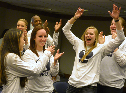 Rick Egan  | The Salt Lake Tribune   L-R BYU women's basketball players, Kylie Maeda, Stephanie Rovetti, and Kristine Fuller celebrate as their name is announced as they watch the NCAA Selection Show in the Cougar Room at the Marriott Center, Monday, March 17, 2014. The Cougars will meet North Carolina State in the first round.