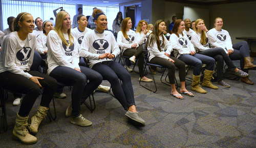 Rick Egan  | The Salt Lake Tribune   The BYU women's basketball team watch the NCAA Selection Show in the Cougar Room at the Marriott Center, as they wait to find out who they will be facing in the tournament.   Monday, March 17, 2014. The Cougars will meet North Carolina State in the first round.