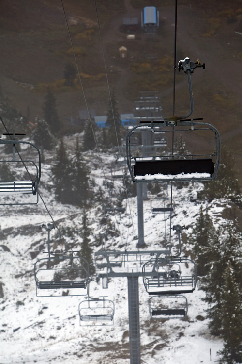 Chris Detrick  |  The Salt Lake Tribune Snow remains on the Mineral Basin Express chairs as seen from Hidden Peak at Snowbird Tuesday September 25, 2012.Ski Utah, Deer Valley and Snowbird are considering the possibility of chairlifts that would link the two resorts.