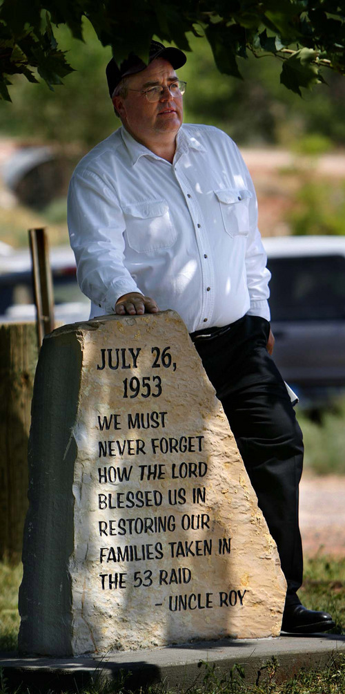 Polygamist Winston Blackmore gave a short speech about the 1953 raid on the polygamous community of Hildale/Colorado City gathered Wednesday morning to unveil a new monument to the raid in Colorado City's Cottonwood Park.