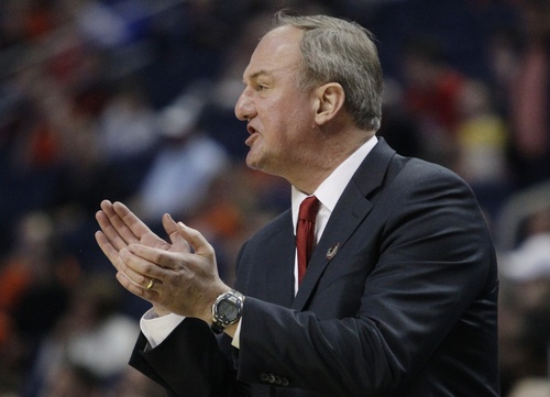 Ohio State head coach Thad Matta calls out to his team during the first half of a second-round game against Dayton in the NCAA college basketball tournament Thursday, March 20, 2014, in Buffalo, N.Y.  (AP Photo/Bill Wippert)